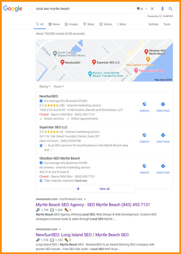 Our Local SEO Myrtle Beach Rankings