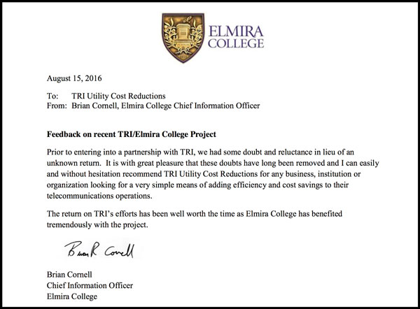 Utility Cost Reductions Elmira College Recommendation