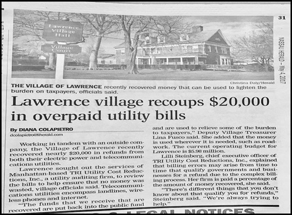 Lawrence Village Recoups $20,000.00 In Overpaid Utility Bills