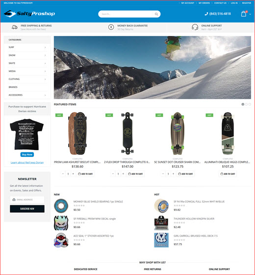 Web Design / Web Development - Salty Pro Shop - Skate Surf & Snow!